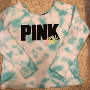 PINK tie dye off the shoulder sweater